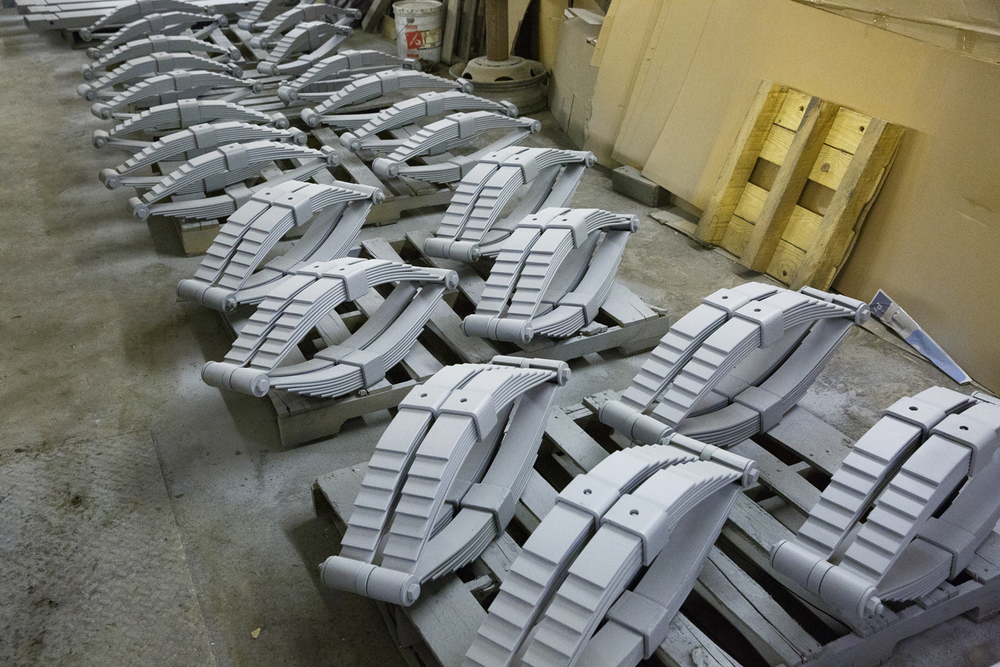 Springs for the wheel sets await their finish coat of paint, Jan. 29, 2015. Rich Saal/The State Journal-Register