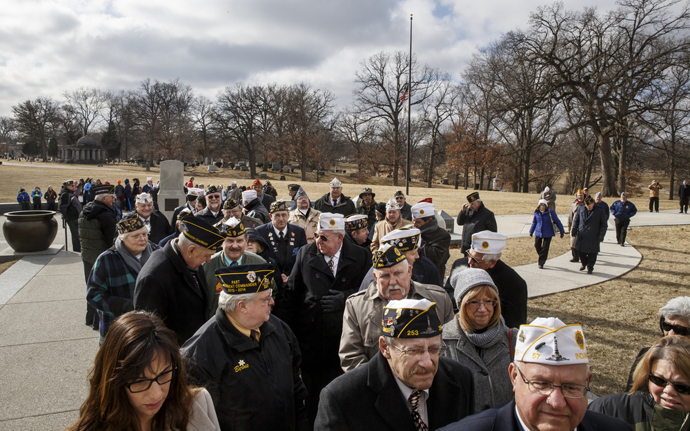 A crowd queues up outside the door and slowly makes its way into Lincoln's Tomb during the 81st Annual National American Legion Pilgrimage to the Tomb of Abraham Lincoln Thursday, Feb. 12, 2015. Ted Schurter/The State Journal-Register