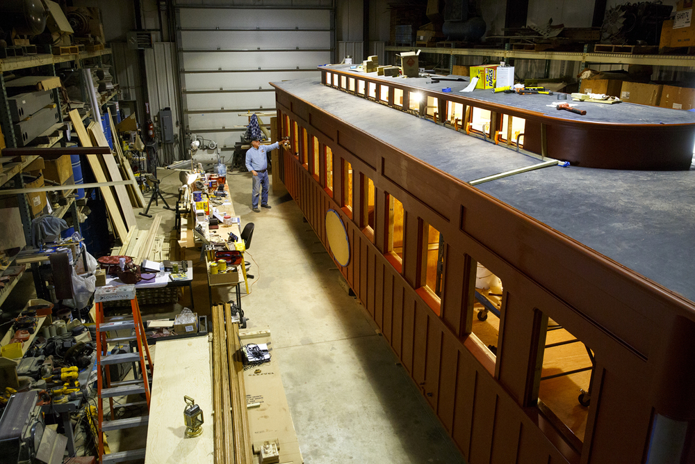 A replica of the train car that carried the bodies of Abraham Lincoln and his son Willie to Springfield in April 1865, is under construction in an Elgin industrial park. It will be a key part of the Lincoln funeral re-enactment scheduled for the first weekend in May. Rich Saal/The State Journal-Register