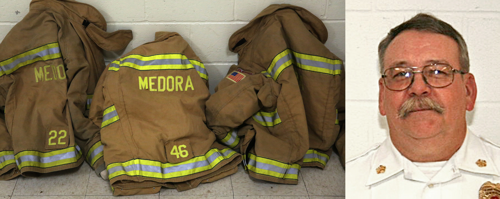 Left: outside the gymnasium, Medora firefighter jackets are temporarily stored during the funeral service. Right: Kenneth Lehr, 59, was the chief of the Medora Fire Protection District in southwestern Macoupin County killed in the line of duty on February 5, 2015. (left photo): David Spencer/The State Journal-Register