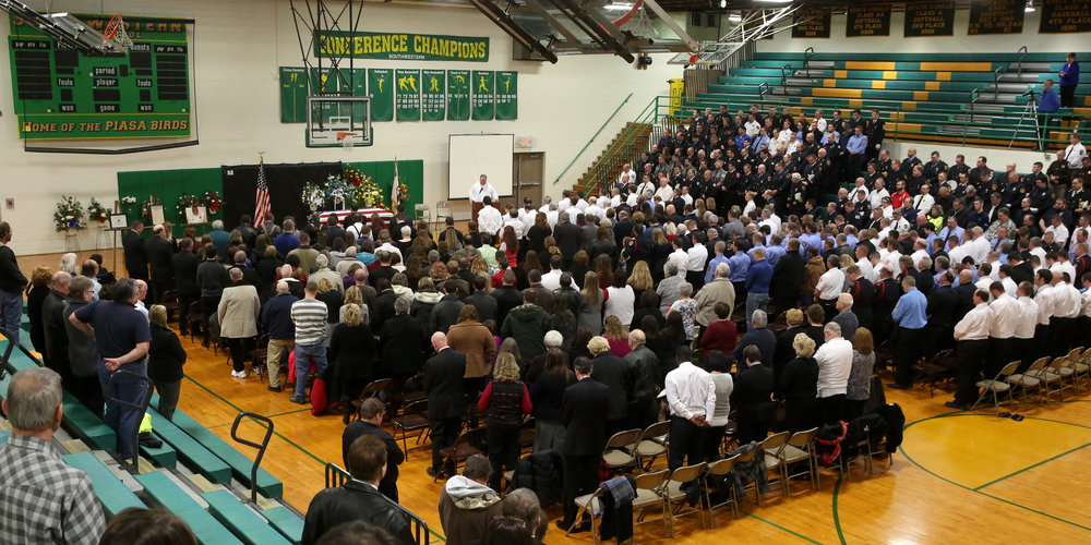 Hundreds attended the funeral service of Chief Lehr Saturday morning, held inside the school gymnasium. David Spencer/The State Journal-Register