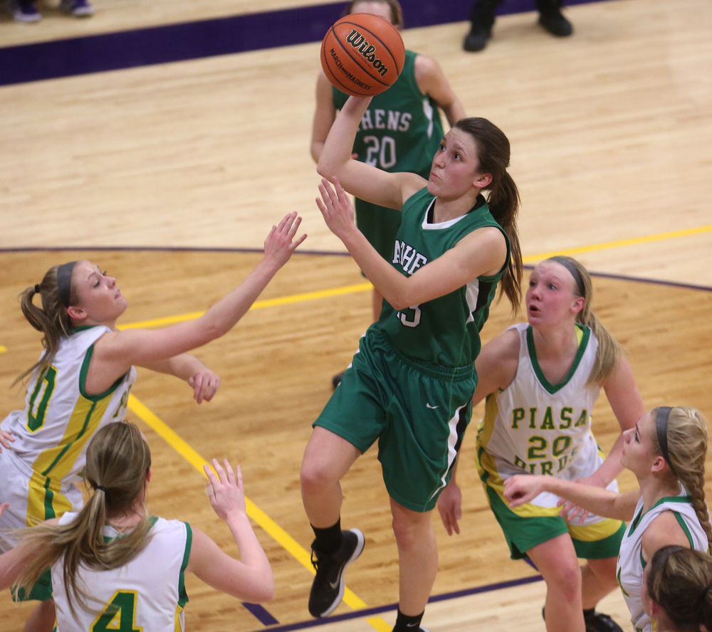 Athens player Madi Epperson puts up two points. Athens High School defeated Piasa Southwestern 44-39 in 2A girls sectional basketball action at Williamsville High School gym on Tuesday evening, Feb. 17, 2015. David Spencer/The State Journal-Register
