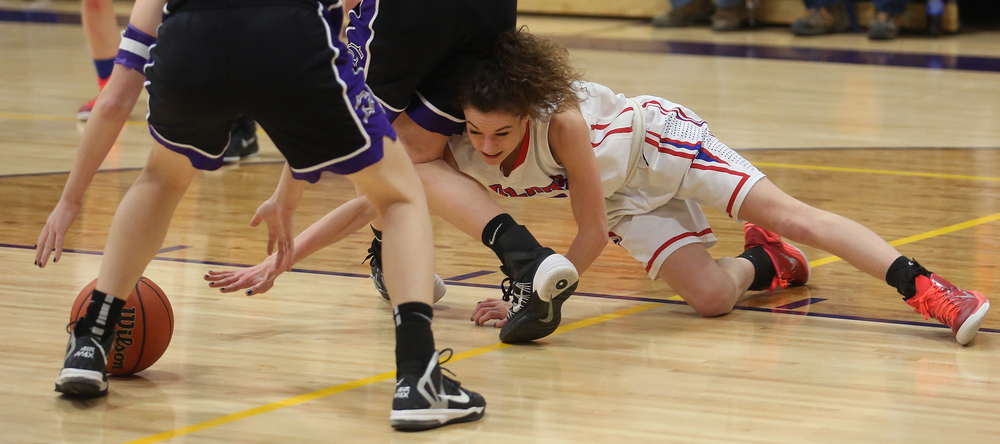 Pleasant Plains player Ali Pankey tries to reach a loose ball. Litchfield defeated Pleasant Plains 22-21 in 2A girls sectional basketball action at Williamsville High School gym on Tuesday evening, Feb. 17, 2015. David Spencer/The State Journal-Register