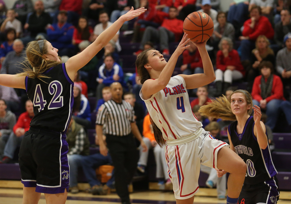 Plains player Amber Couser scores two points. Litchfield defeated Pleasant Plains 22-21 in 2A girls sectional basketball action at Williamsville High School gym on Tuesday evening, Feb. 17, 2015. David Spencer/The State Journal-Register