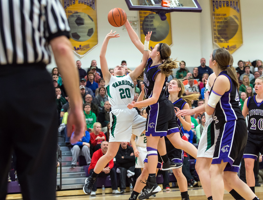 Litchfield's Abby Brockmeyer (50) blocks the shot of Athens' Lauren Ogden (20) in the second half during the Class 2A Williamsville sectional title game, Thursday, Feb. 19, 2015, in Williamsville, Ill. Justin L. Fowler/The State Journal-Register