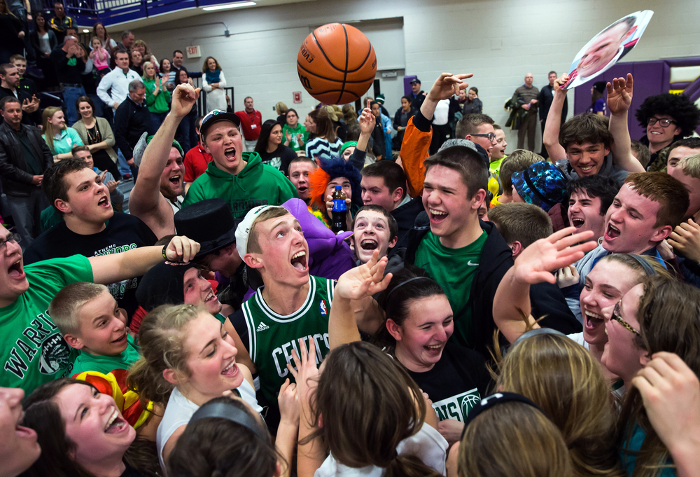 The Athens student section joins in on the fun as Athens celebrates their victory over Litchfield in the Class 2A Williamsville sectional title game, Thursday, Feb. 19, 2015, in Williamsville, Ill. Justin L. Fowler/The State Journal-Register