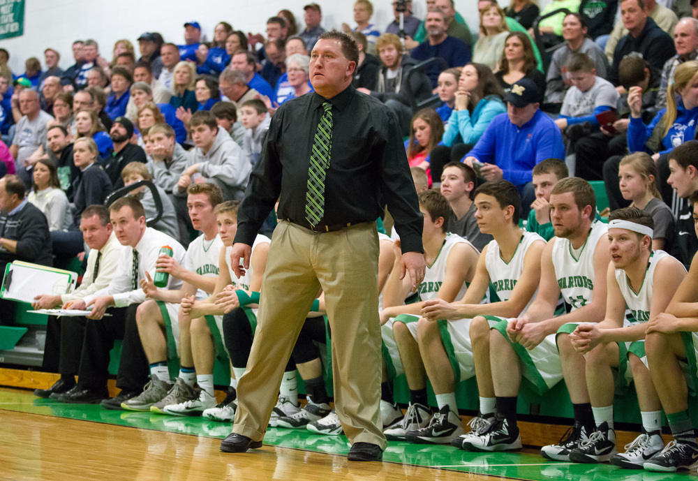 Athens boys basketball head coach Jeff Johnston watches as his team takes on Lutheran in the first half at Athens High School, Friday, Feb. 20, 2015, in Athens, Ill. Justin L. Fowler/The State Journal-Register