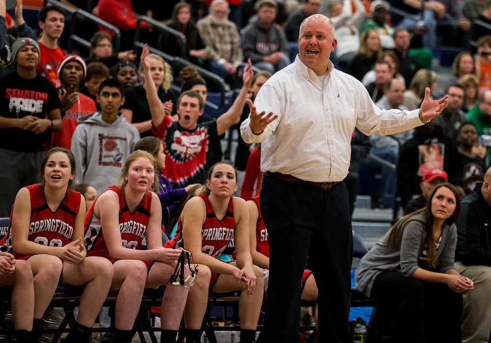 Springfield girls basketball coach Brad Scheffler argues for a foul call against Normal U-High in the second half during the Class 3A Rochester Sectional at the Rochester Athletic Complex , Monday, Feb. 23, 2015, in Rochester, Ill. Justin L. Fowler/The State Journal-Register