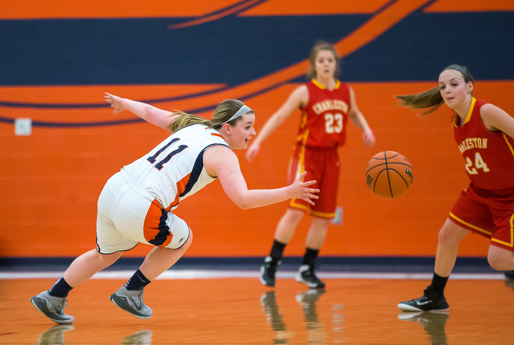 Rochester's Kylie Clemens (11) dives trying to save a loose ball against Charleston in the first half during the Class 3A Rochester Sectional at the Rochester Athletic Complex , Monday, Feb. 23, 2015, in Rochester, Ill. Justin L. Fowler/The State Journal-Register