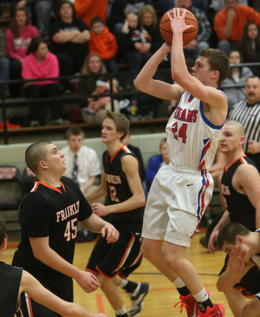 Pawnee player Cade Puzey puts up two points. Franklin defeated Pawnee 61-39 during a semifinal game at the 1A Waverly Regional Boys Basketball Tournament held at Waverly Grade School gymnasium on Wednesday evening, Feb. 25, 2015. David Spencer/The State Journal-Register