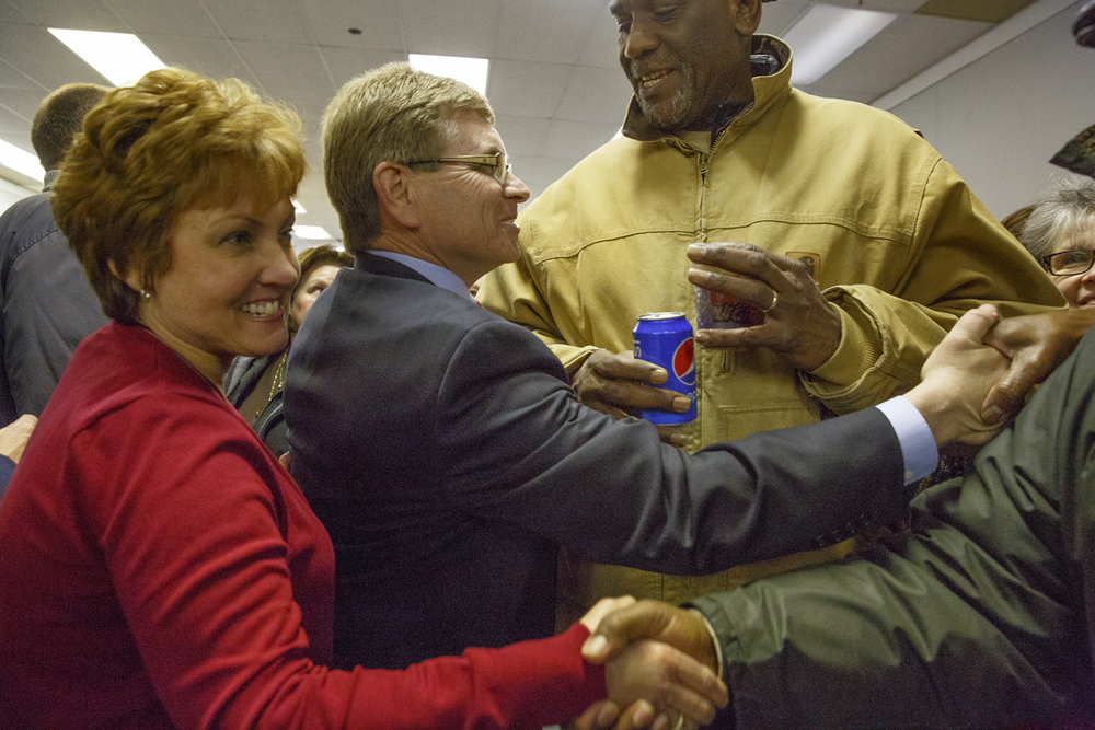 City Treasurer Jim Langfelder and his wife Billie celebrate with supporters at his campaign headquarters after finishing first in the five-way run off election Tuesday, Feb. 24, 2015. Langfelder will face Paul Palazzolo in the general election April 7. Rich Saal/The State Journal-Register