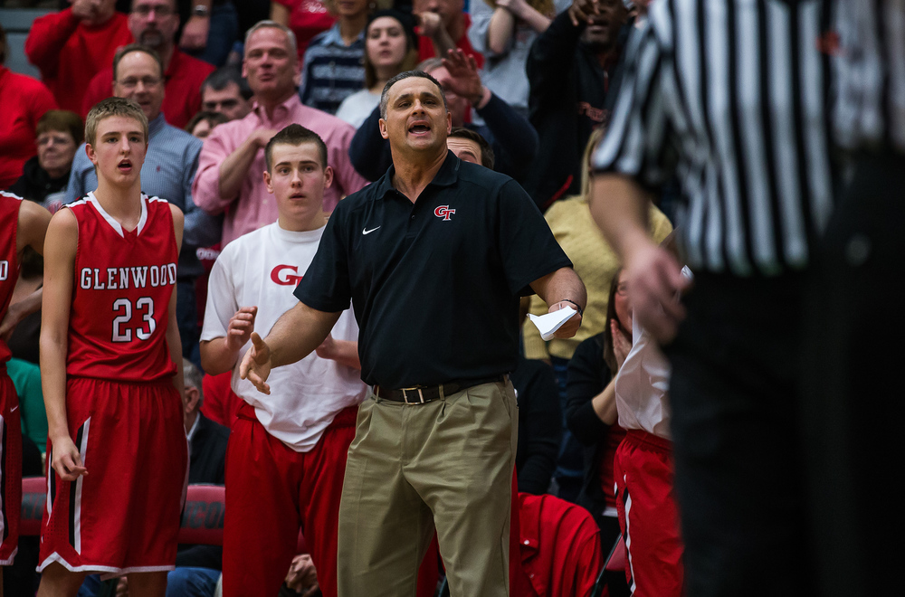 Glenwood boys basketball head coach Todd Blakeman tries to a argue a foul call against Glenwood as they take on Lincoln in the second half at Roy S. Anderson Gymnasium, Friday, Feb. 27, 2015, in Lincoln, Ill. Justin L. Fowler/The State Journal-Register