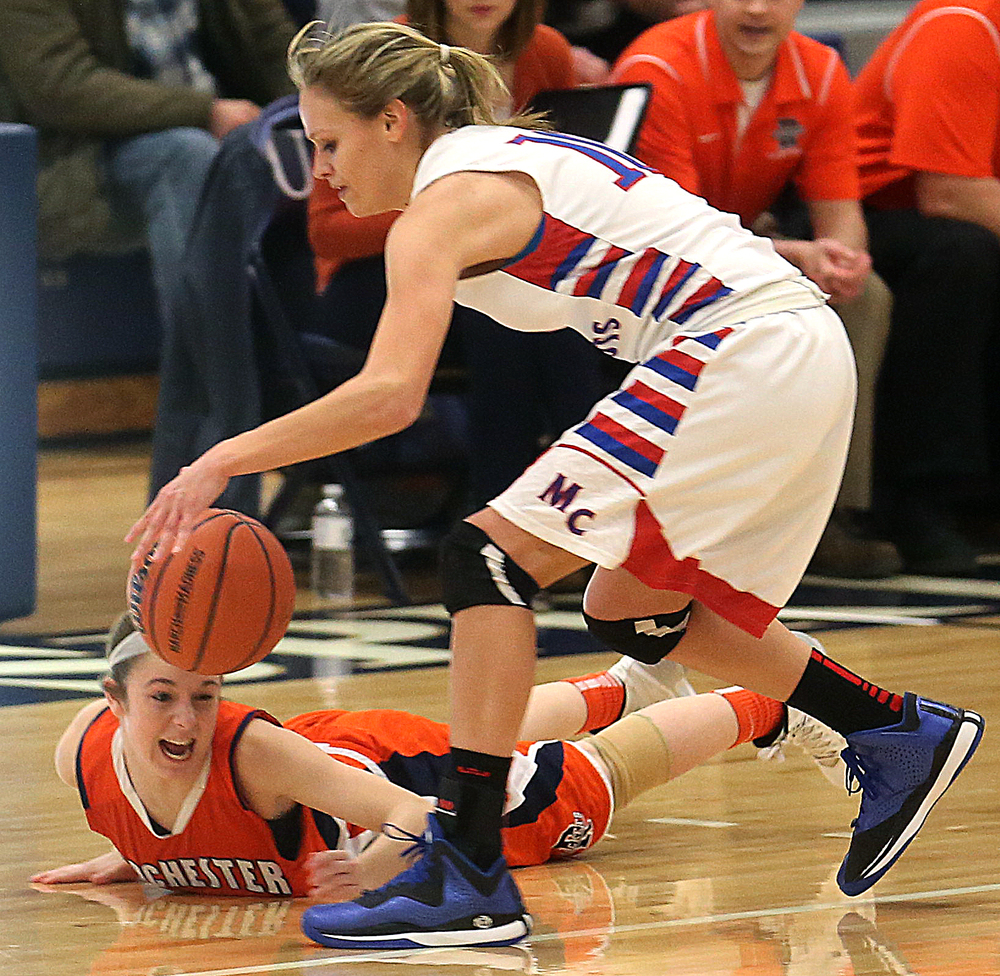 Massac player Jessie Douglas controls the ball under pressure from Rochester defender Aubrey Magro. Rochester High School defeated Metropolis Massac County 39-35 