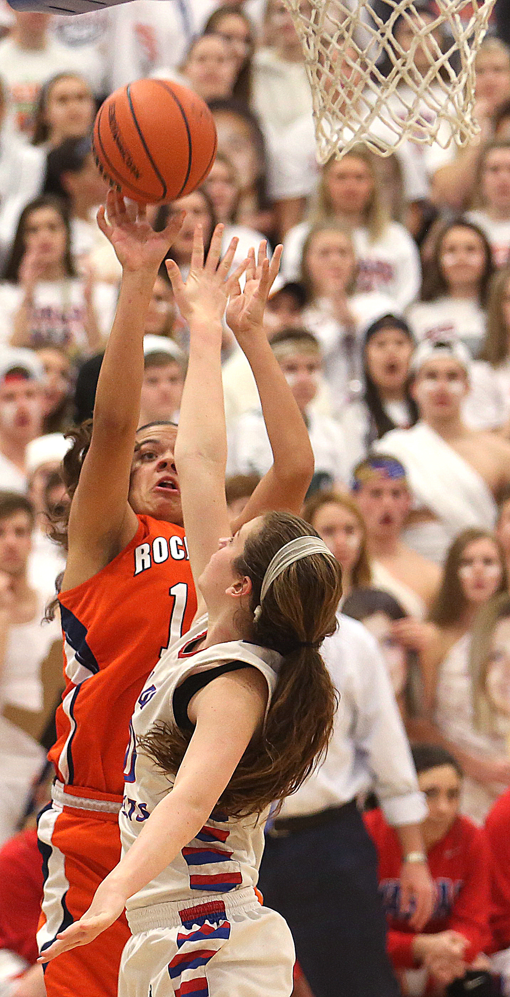 Rochester player Lyric Boone puts up a shot. Rochester High School defeated Metropolis Massac County 39-35 