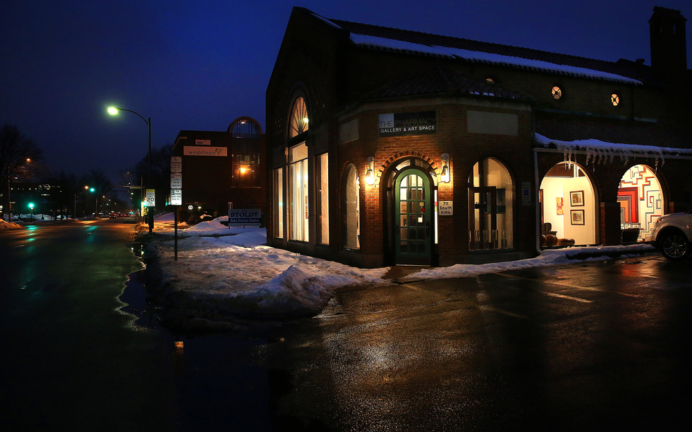 An exterior nighttime view of the new home for the Pharmacy looking due south with Fifth St. at left onTuesday evening, March 3, 2015. David Spencer/The State Journal Register