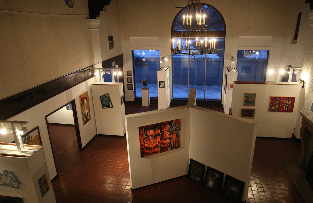 An interior view shows the main exhibition space for the Pharmacy from a balcony area used as artist studio space on Tuesday evening, March 3, 2015. David Spencer/The State Journal Register