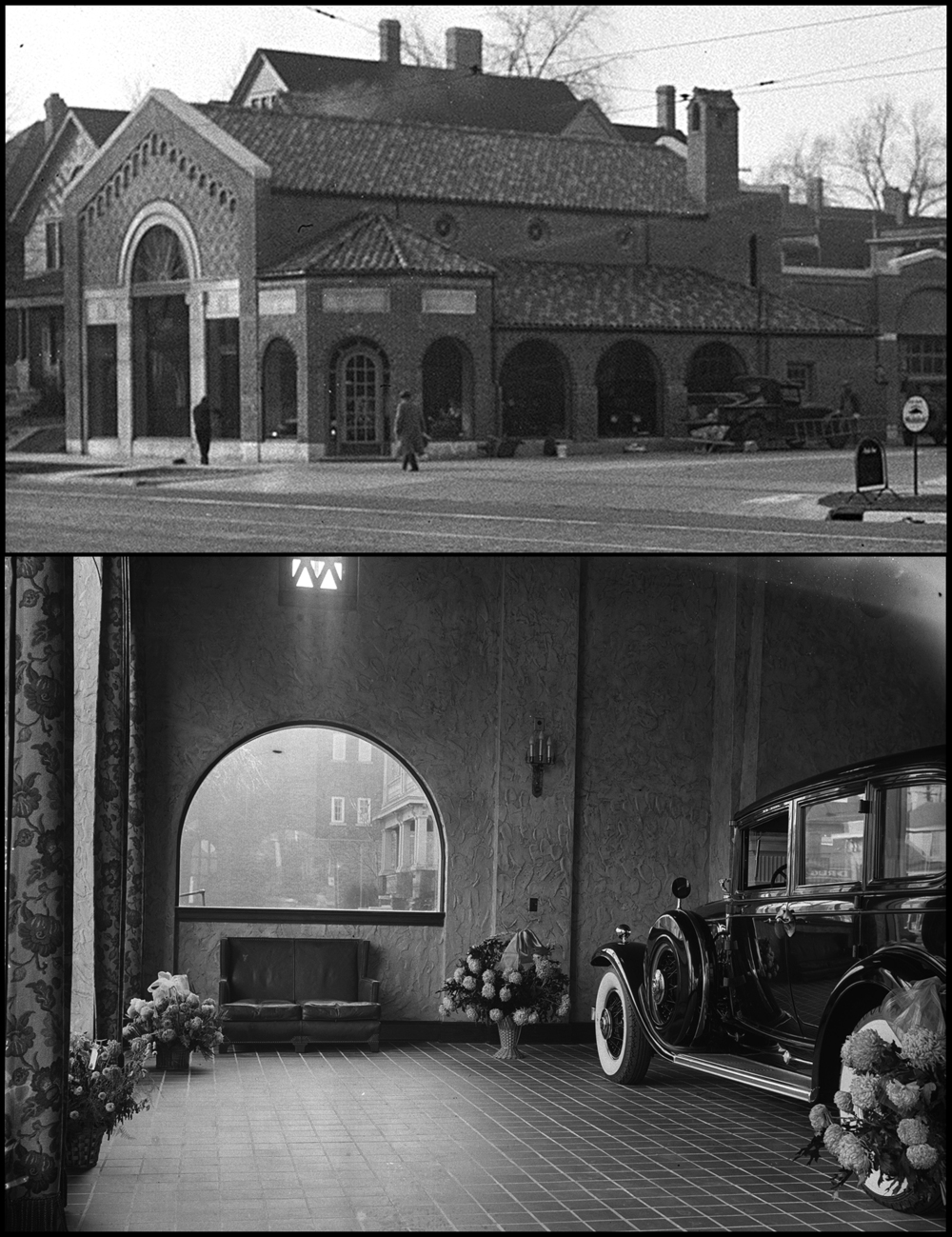 Two historical photographs from Illinois State Register glass plate negatives held in the Sangamon Valley Collection at Lincoln Library show two views of the Illini Motor Company's showroom, now home to the Pharmacy. At top, an exterior view taken circa 1930 shows workmen doing finishing touches around the brand new building. Organized in 1926 by Ralph Norton Baker Jr. and George Kreider, the dealership, which sold the Franklin, Cadillac, LaSalle, Oldsmobile and other models to a surrounding seven county area was first listed at this corner of S. Fifth and Cook St. beginning in 1930, according to the Springfield City Directory. At bottom, a brand new Cadillac is parked inside the showroom featuring large bouquets of flowers most likely sent by well-wishers after the dealership moved from their old showroom at 526-530 S. 5th. Both photos: Illinois State Register glass plate negative collection /Sangamon Valley Collection at Lincoln Library