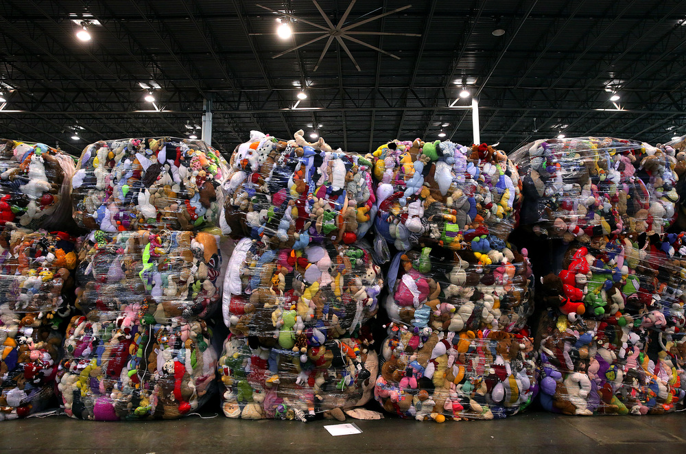 Shrink-wrapped bales weighing up to 1000 pounds-each one containing thousands of stuffed toy animals-are destined for recycling and sale to a third party vendor. David Spencer/The State Journal Register