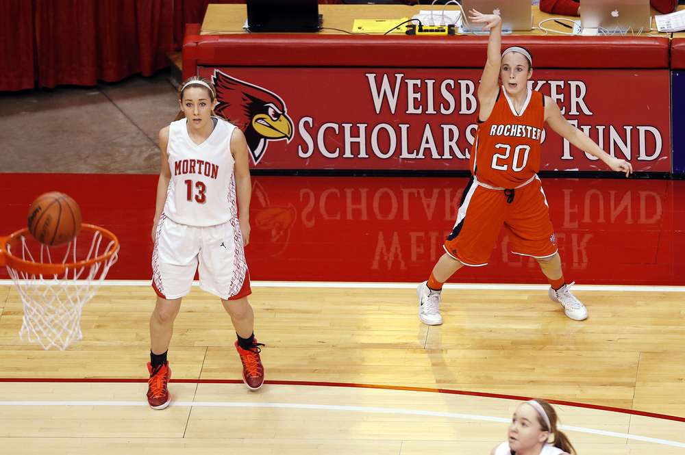 Rochester's Aubrey Magro watches her three-pointer bounce off the rim as the Rockets face Morton during the Class 3A state championship at Redbird Arena in Normal Saturday, March 7, 2015. Ted Schurter/The State Journal-Register