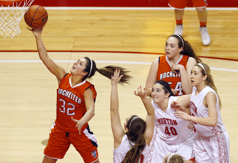 Rochester's Laryn Sapetti slips through the Morton defense during the Class 3A state championship at Redbird Arena in Normal Saturday, March 7, 2015. Ted Schurter/The State Journal-Register