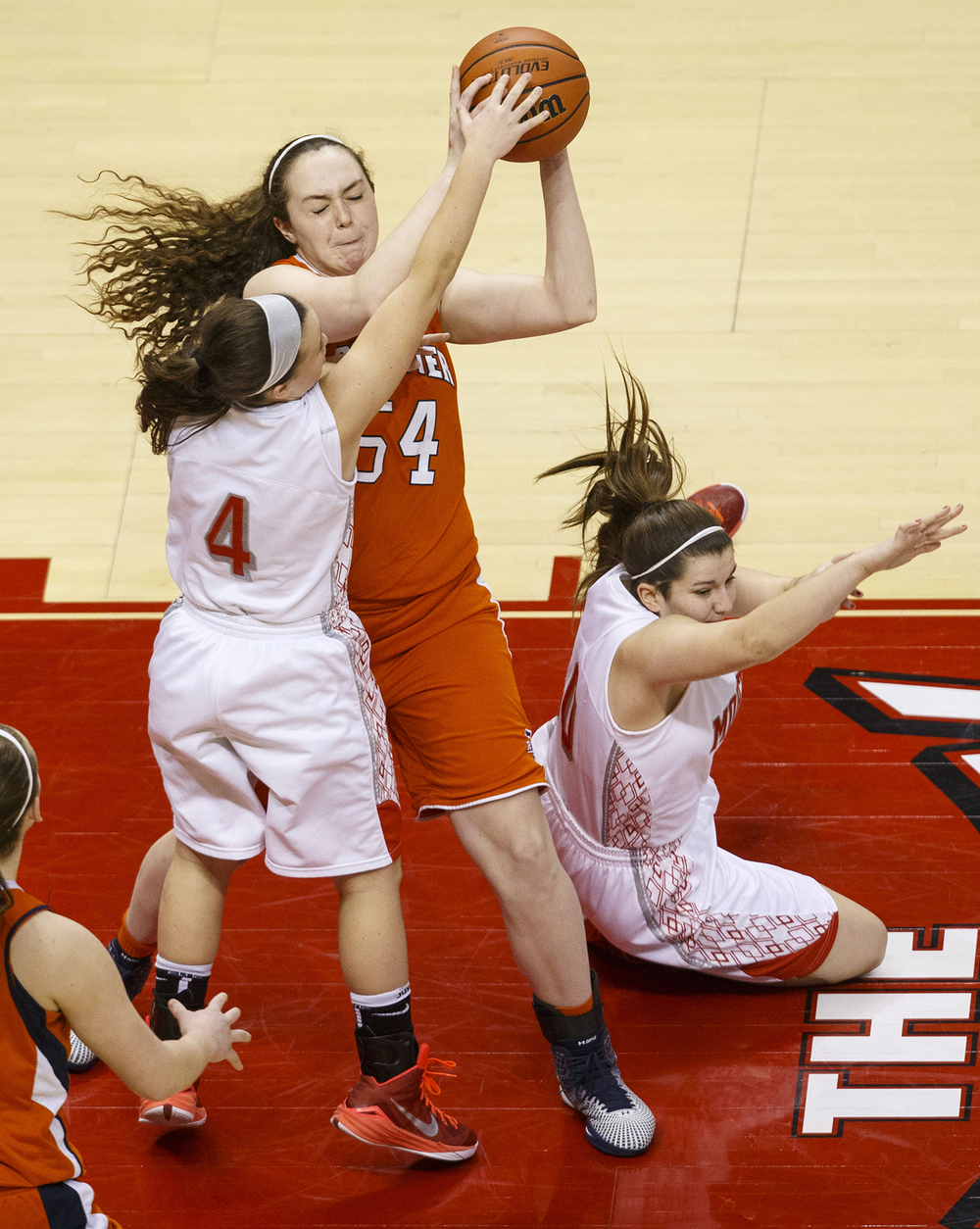 Rochester's Angela Perry grabs a rebound from Morton during the Girls 3A State Championship game at Redbird Arena Saturday, March 7, 2015. Ted Schurter/The State Journal-Register