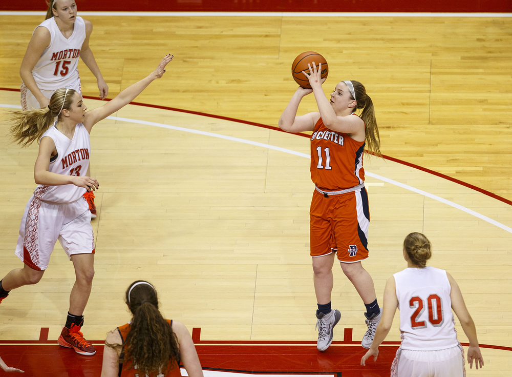 Rochester's Kylie Clemens shoots in the lane against Morton during the Girls 3A State Championship game at Redbird Arena Saturday, March 7, 2015. Ted Schurter/The State Journal-Register