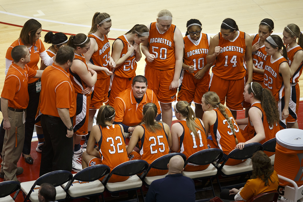 Rochester head coach J.R. Boudouris talks to the team during a timeout as they play Morton during the Girls 3A State Championship game at Redbird Arena Saturday, March 7, 2015. Ted Schurter/The State Journal-Register