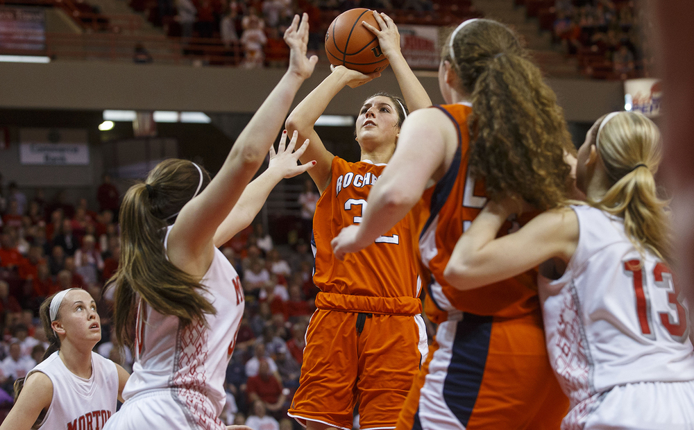 Rochester's Laryn Sapetti shoots under pressure from Morton defenders during the Girls 3A State Championship game at Redbird Arena Saturday, March 7, 2015. Ted Schurter/The State Journal-Register