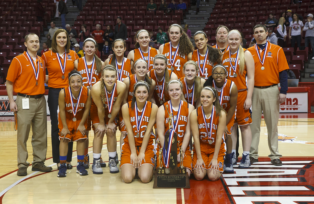 The Rochester Rockets pose with their State Runner-Up Girls Basketball 3A trophy after losing to Morton 47-37  at Redbird Arena Saturday, March 7, 2015. Ted Schurter/The State Journal-Register