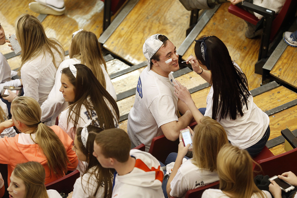 Rochester fans prepare in the stands before the tip-off against Morton during the Girls 3A State Championship game at Redbird Arena Saturday, March 7, 2015. Ted Schurter/The State Journal-Register