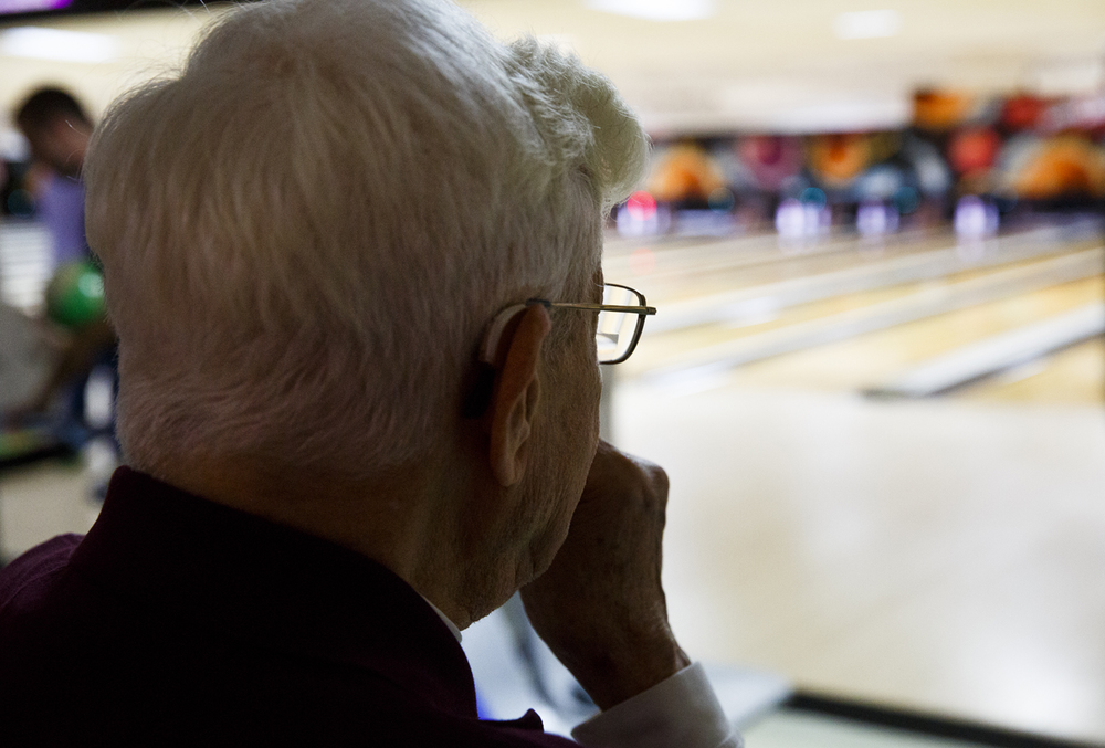 John Mayes watches the action during league play at King Pin Lanes Tuesday, March 10, 2015. Rich Saal/The State Journal-Register