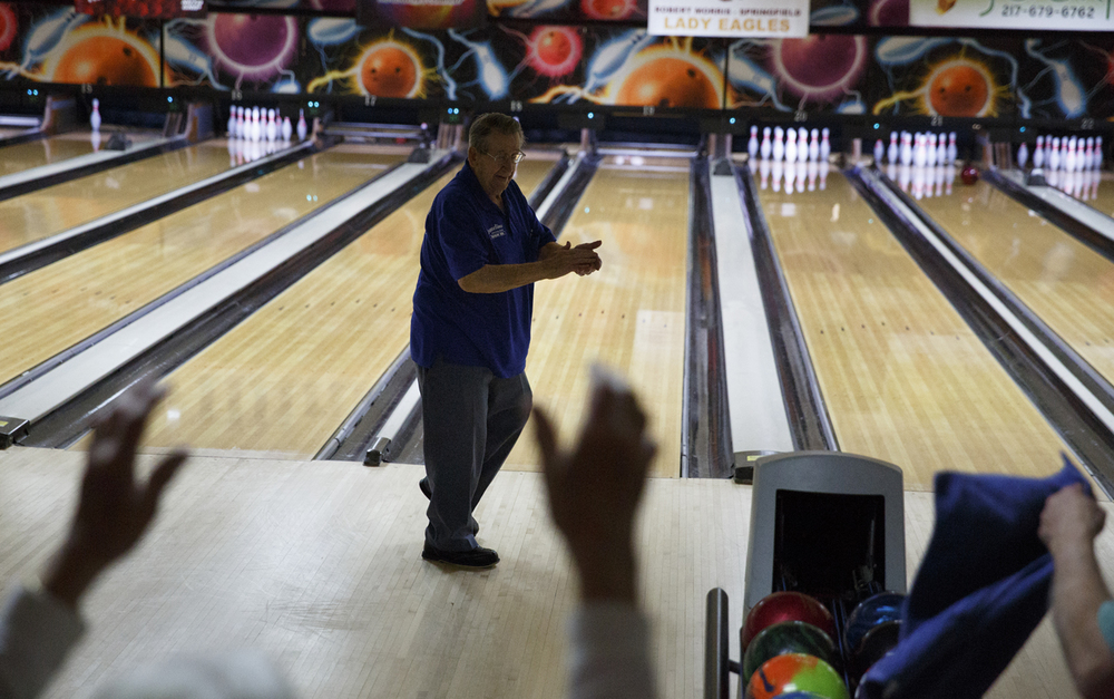 Nick Frasco celebrates a strike at King Pin Lanes Tuesday, March 10, 2015. Rich Saal/The State Journal-Register