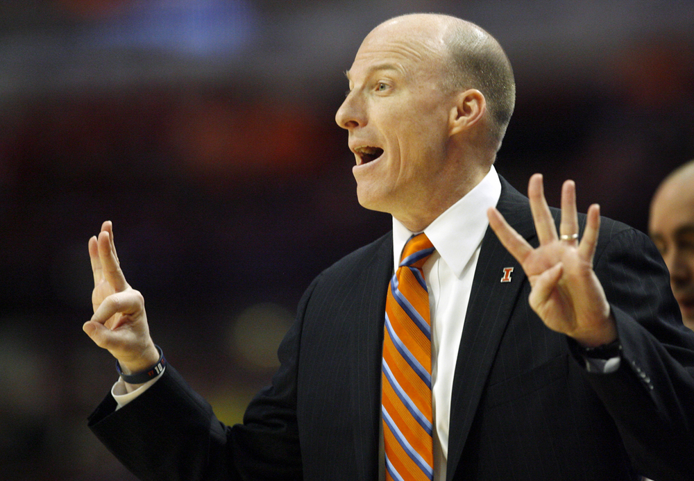 Illinois head coach John Groce calls a play from the sidelines against Michigan during the Big Ten Tournament at the United Center in Chicago, Ill. Thursday, March 12, 2015. Ted Schurter/The State Journal-Register