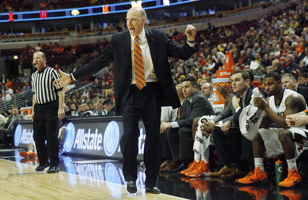 Illinois head coach John Groce reacts as the Illini fall farther behind Michigan during the Big Ten Tournament at the United Center in Chicago, Ill. Thursday, March 12, 2015. Ted Schurter/The State Journal-Register