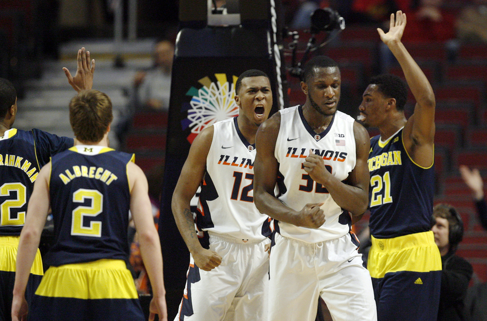Illinois' Nnanna Egwu is pumped after drawing a foul from Michigan during the Big Ten Tournament at the United Center in Chicago, Ill. Thursday, March 12, 2015. Ted Schurter/The State Journal-Register