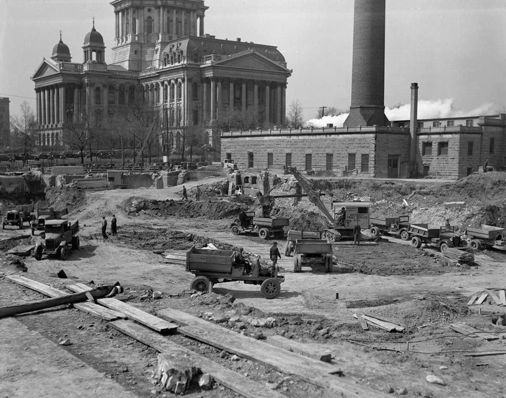 Early construction underway for Illinois State Armory, Second and Monroe streets, April 23, 1936. File/The State Journal-Register
