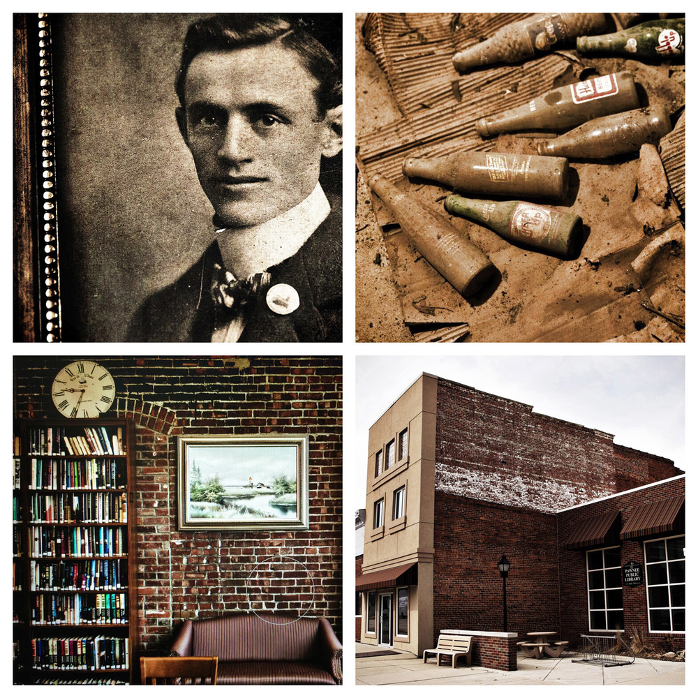 (Top Left) A portrait of John Joseph Willenborg hangs on the wall of the Pawnee Public Library Annex which is located inside the building that was the Willenborg's Store.   (Top Right) Soda bottles covered in dust and untouched for an unknown amount of time found in the basement of the Library Annex. (Bottom Left) The Pawnee Public Library shares a west wall with the Library Annex and has many sections bricked over that used to be windows and doorways. (Bottom Right) The Pawnee Public Library Annex is thought to be haunted by few ghosts after an investigation by the Springfield Ghost Society. Justin L. Fowler/The State Journal-Register