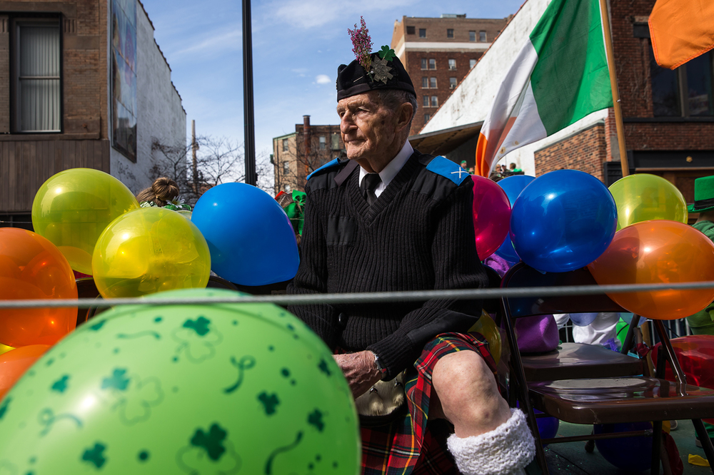 Bill Boyd, a long time member of the St. Andrews Society of Central Illinois, rides along in the groups float during the 2015 Saint Patrick's Day Parade, Saturday, March 14, 2015, in Springfield, Ill. Justin L. Fowler/The State Journal-Register
