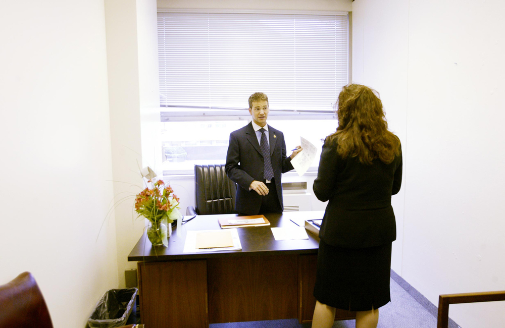State Rep. Aaron Schock in his Stratton Building office, January 2005. File/The State Journal-Register