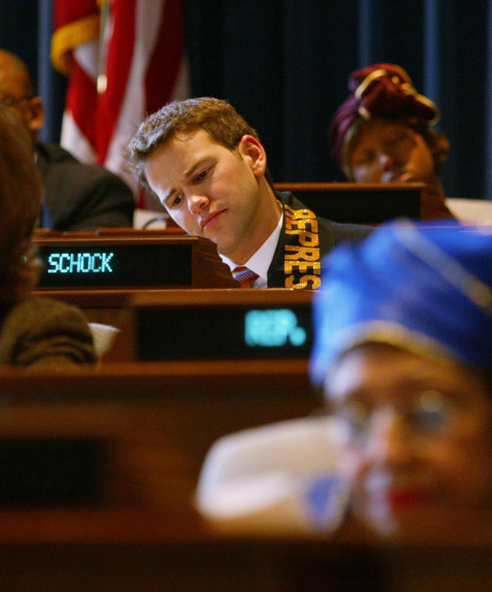 State Rep. Aaron Schock attends a House committee hearing, 2005. File/The State Journal-Register