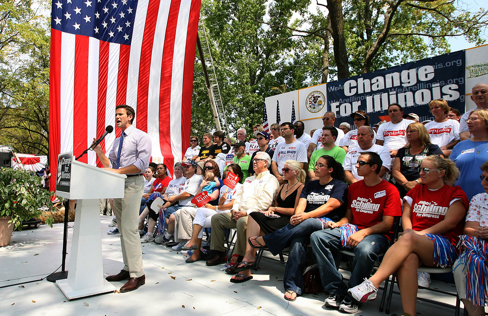 Rep. Aaron Schock speaks at the Republican Day rally at the Illinois State Fair August 20, 2010. File/The State Journal-Register