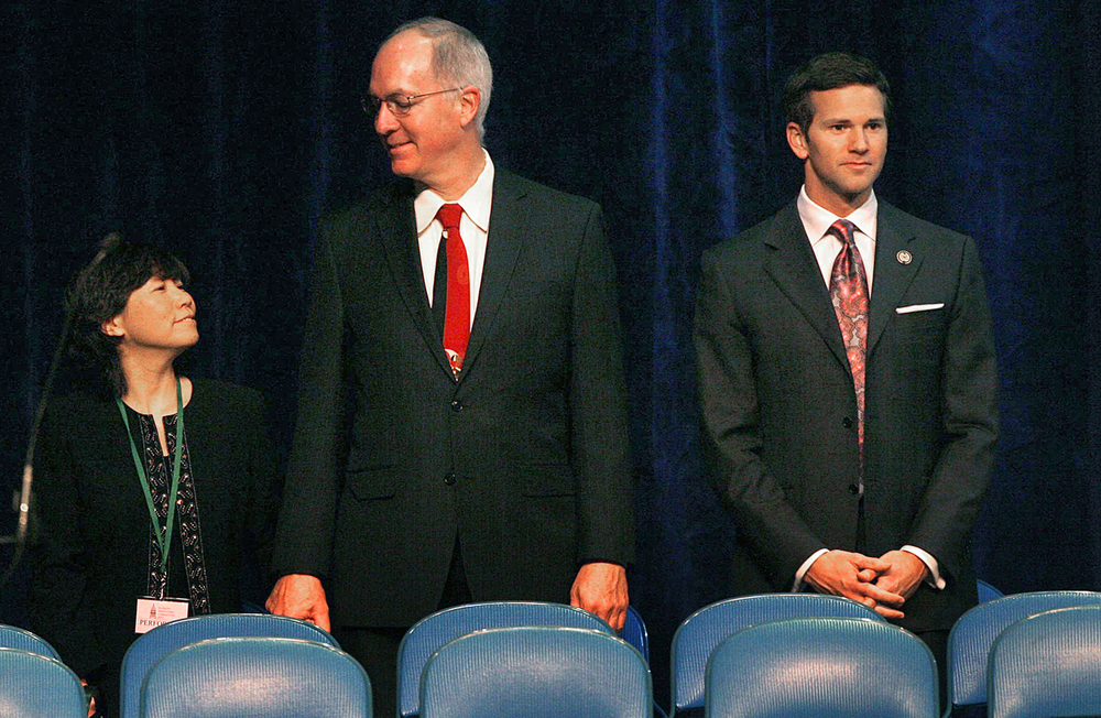 U.S. Rep. Aaron Schock, right, attends the inauguration of Gov. Pat Quinn at the Prairie Capital Convention Center January 10, 2011. David Spencer/The State Journal-Register