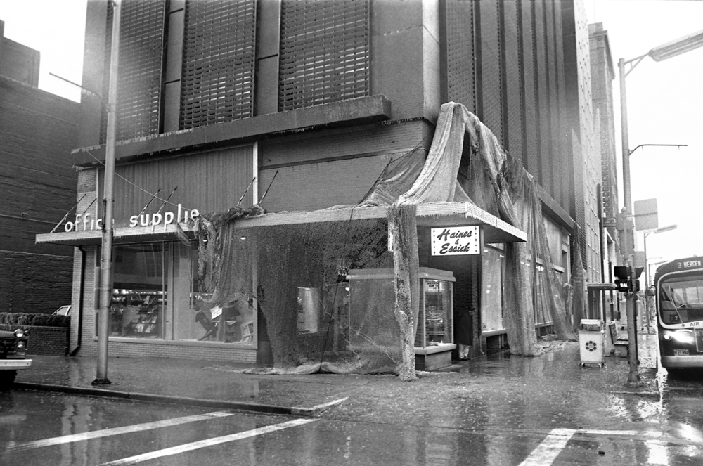Netting used to keep birds from roosting on the Ferguson Building at Sixth and Monroe streets was pulled down by the weight of ice, March 1978.