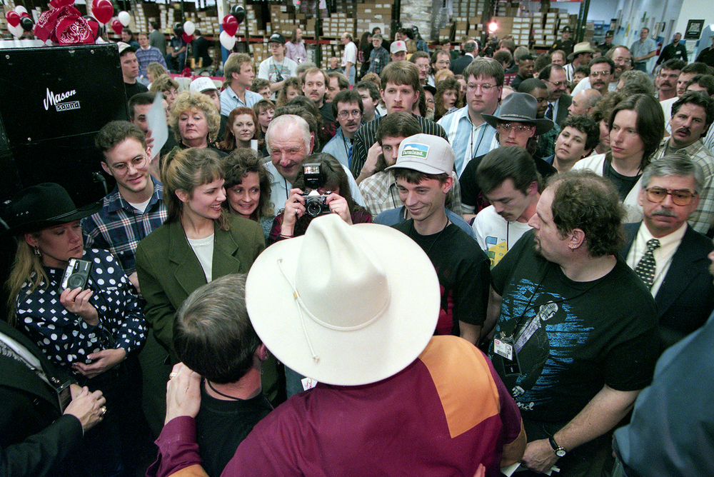 Garth Brooks signed autographs and posed for pictures with employees of the EMI Manufacturing plant in Jacksonville March 1995. File/The State Journal-Register