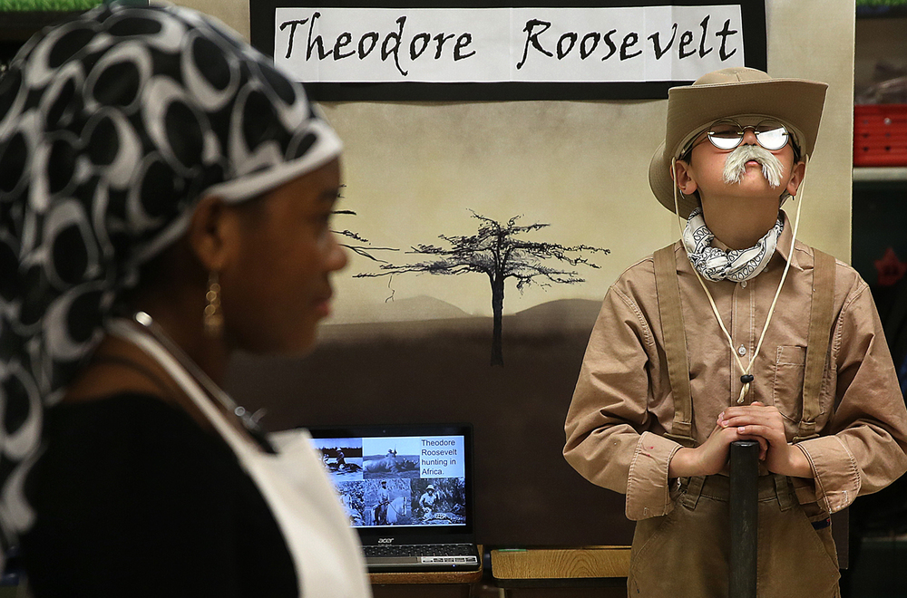 Theodore Roosevelt was portrayed by student Eric Yang at Vachel Lindsay school's wax museum Tuesday, March 24, 2015. David Spencer/The State Journal-Register