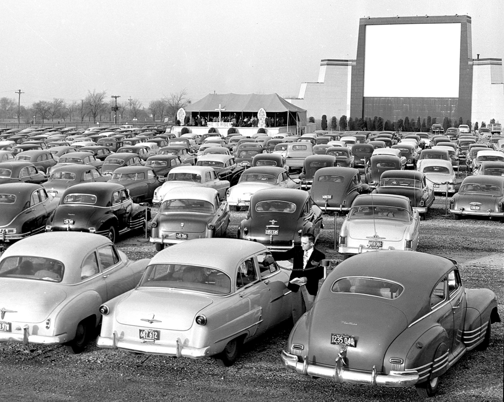 Church service at Drive In movie lot, April 15, 1950