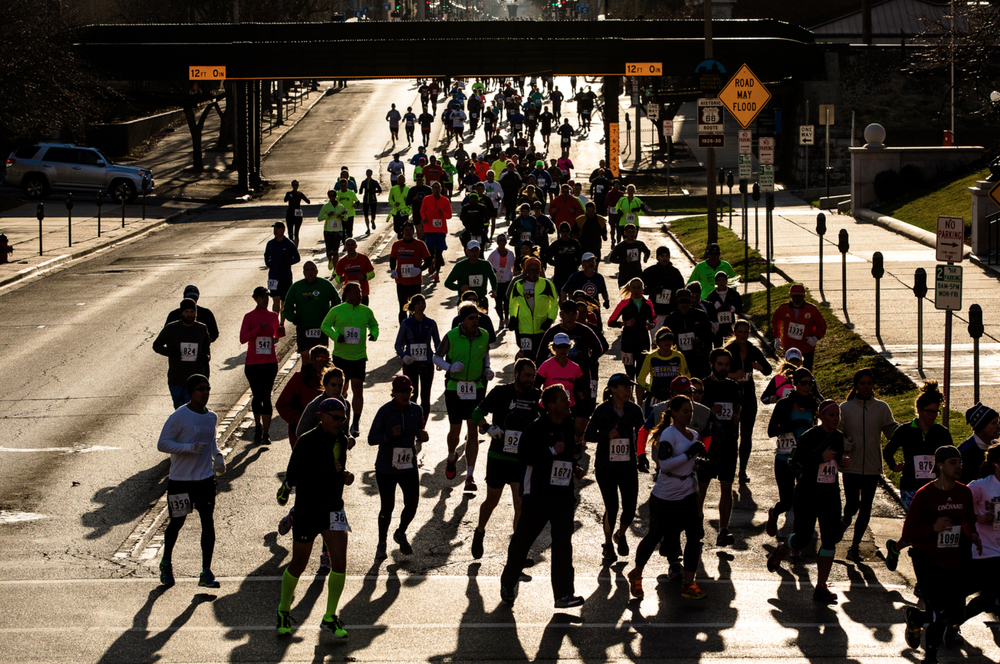 Runners make the turn onto Second Street from Captiol Avenue finishing the second mile during the 2015 Lincoln Presidential Half Marathon, Saturday, April 4, 2015, in Springfield, Ill. Justin L. Fowler/The State Journal-Register