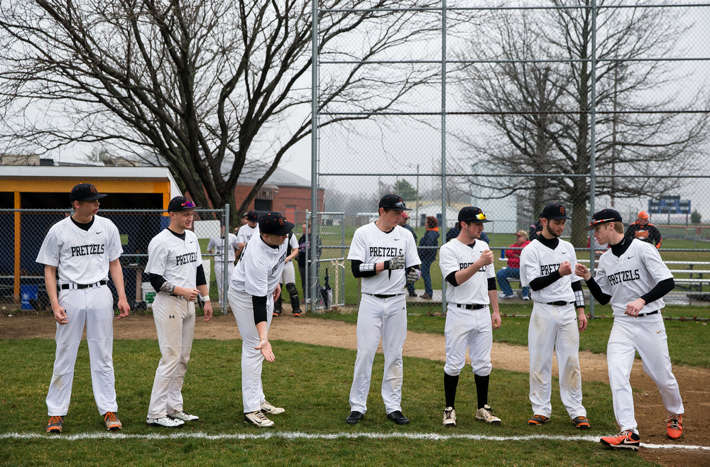The Freeport Pretzels go through player introductions prior to taking on the New Berlin Pretzels at New Berlin High School, Tuesday, April 7, 2015, in New Berlin, Ill. Justin L. Fowler/The State Journal-Register