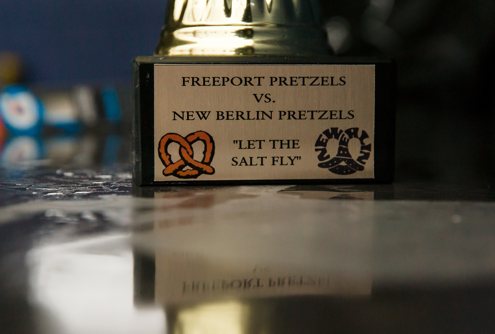 A trophy for the winner of the baseball game between New Berlin and Freeport, of which both teams share the Pretzels mascot, sits in the Freeport dugout at New Berlin High School, Tuesday, April 7, 2015, in New Berlin, Ill. Justin L. Fowler/The State Journal-Register