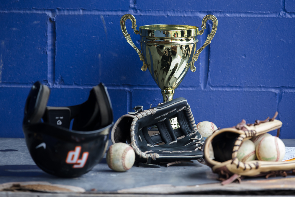 The trophy awaits the winner of the New Berlin Pretzels vs. the Freeport Pretzels as the teams that share the same mascot take on each other at New Berlin High School, Tuesday, April 7, 2015, in New Berlin, Ill. Justin L. Fowler/The State Journal-Register